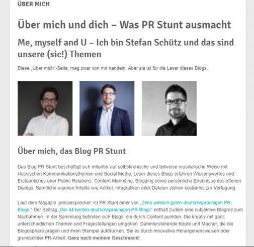"""Tipps zur Struktur und Gestaltung einer authentischen """"Über mich""""-Seite am Beispiel PR Stunt (Stivologne / PR Stunt)"""
