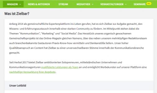 """Beispiel Online-Magazin: Wer kennt die besten """"Über mich""""-Seiten?"""
