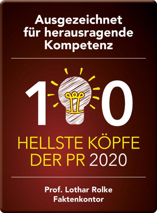Die 100 hellsten Köpfen der PR 2020 (Faktenkontor / Stefan Schütz)