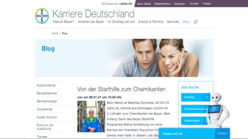 Best Practices von Corporate Blogs in Deutschland: Karriereblog von Bayer.