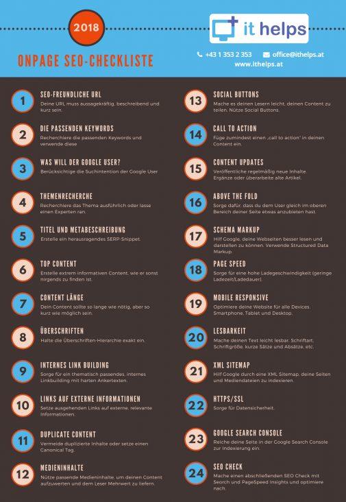 24 SEO-Praxistipps auf einer übersichtlichen Checkliste (ithelps)